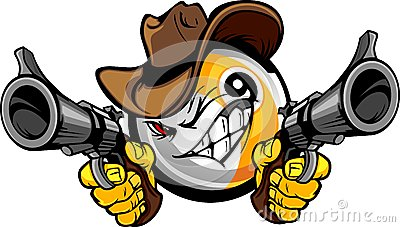 Billiards Pool Nine Ball Shootout Cartoon Cowboy