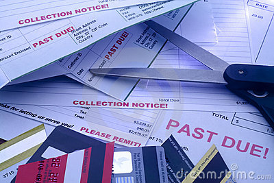 Bills, Cut Up Credit Cards, and Scissors