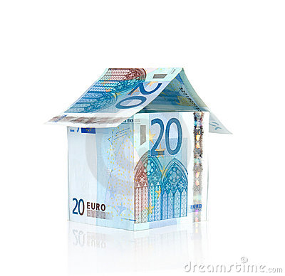 Free Bills Euro House With Reflection Stock Images - 21925524