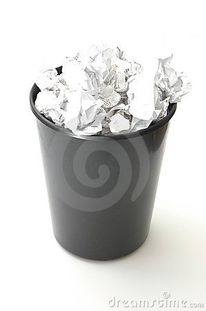 Bin filled with paper