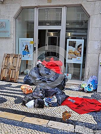 Bin men strike in Portugal Editorial Photo