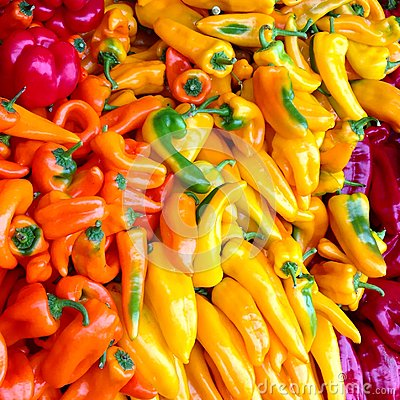 Free Bin Of Colorful Peppers Royalty Free Stock Photography - 47049567