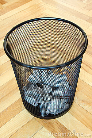 bin with paper waste