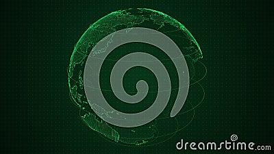 Binaire groene die 3D aarde met aantallenomwenteling wordt geconstrueerd Spinnende bol, glanzende binaire continenten HUD-planeet stock video
