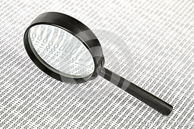 Binary Code And Magnifier Royalty Free Stock Images - Image: 25682899