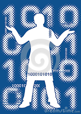 Binary code with male silhouette