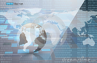 Binary code and world map 2 Vector Illustration