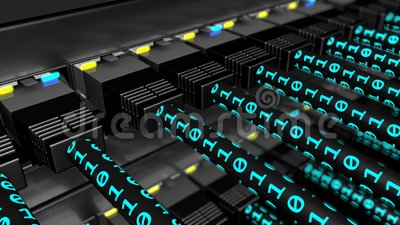 Binary data transferring on UTP cables loop. 3D animation of Binary data transferring on UTP cables plugged in to network switch. Status LEDs flashes on a royalty free illustration