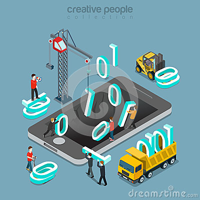 Free Binary Data Zero One Assembler Coding Flat Isometric Vector 3d Royalty Free Stock Photography - 66198337