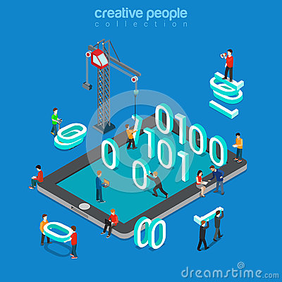 Free Binary Data Zero One Code Programming Flat Isometric Vector 3d Royalty Free Stock Image - 66198336