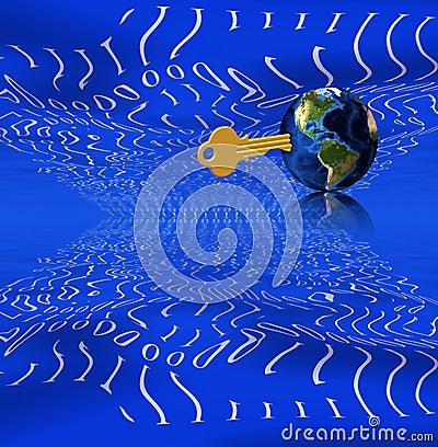 Binary, key and earth