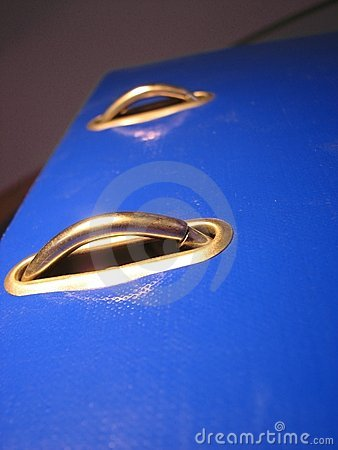 Binder rings on blue cover