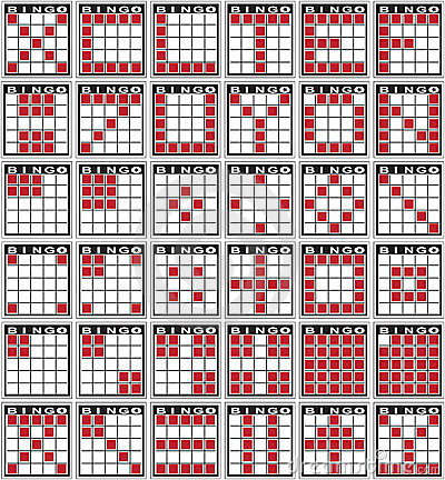 Bingo patterns played at bingo halls and casinos. .