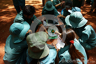 Worker in teamwork at rubber plantation Editorial Photo