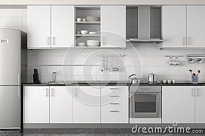 Binnenlands ontwerp van moderne witte keuken royalty vrije stock fotografie afbeelding 9366457 - Ontwerp witte keukens ...