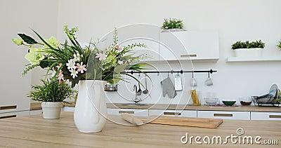 Binnenlandse mening van elegant minimalistisch keuken en het dineren gebied Geen mensen