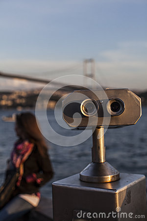 Binocular bridge and girl