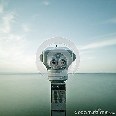 Binocular faced to the ocean