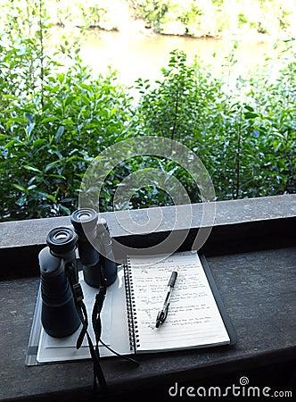 Free Binoculars And Bird Watching Notes Stock Image - 13085691