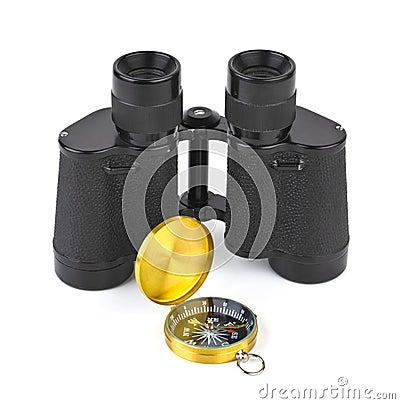 Binoculars and compass
