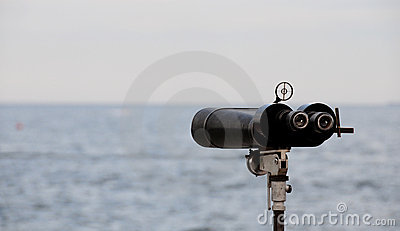 Binoculars facing ocean