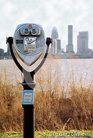 Binoculars with Louisville Skyline