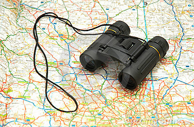 Binoculars over the map