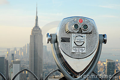 Binoculars overlooking the Manhattan skyline