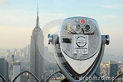 Binoculars overlooking the Manhattan skyline