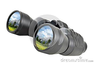 Binoculars reflect beautiful landscape