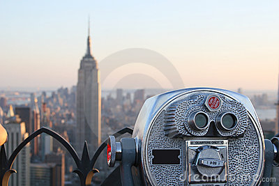 Binoculars viewing Empire State Building Editorial Photography