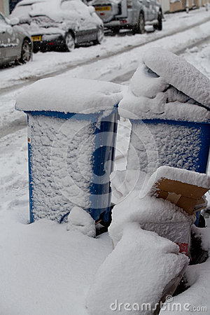 Bins covered in heavy snow in Bristol Editorial Image