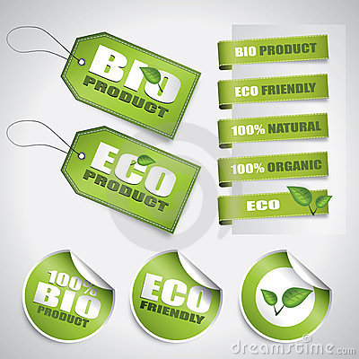 Bio green labels and tags