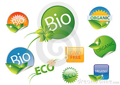 Bio organic gmo free label set
