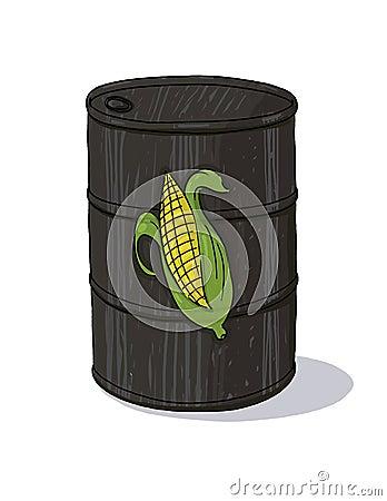 Bio fuel oil barrel with corn illustration