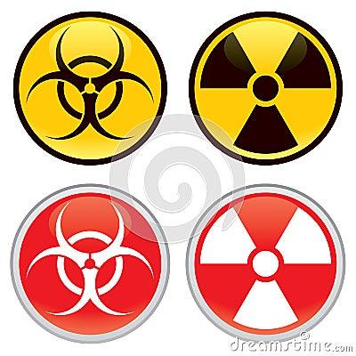 Biohazard e sinais de aviso radioativos
