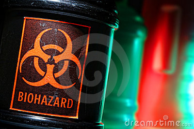Biohazard Label on Dangerous Waste Container