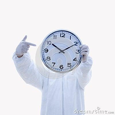 Biohazard suit and clock