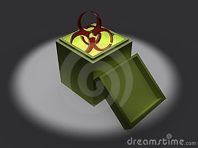 Biohazard symbol in box