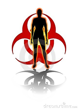 BIOHAZARD SYMBOL HUMAN SILHOUETTE (click image to zoom)