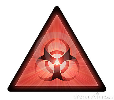 Biohazard warning sign light flare
