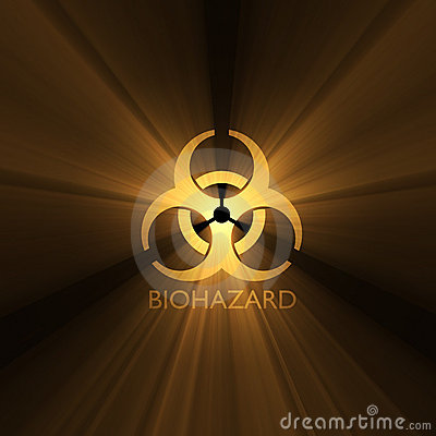Biohazard warning sign light flare