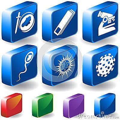 Biology 3D Button Set