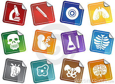 Biology Sticker Buttons Set