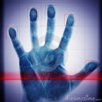 Biometric scanner hand of the man