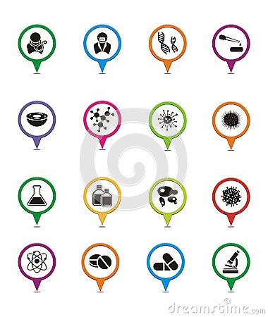 Free Biotechnology Map Pointers Royalty Free Stock Photos - 34648218
