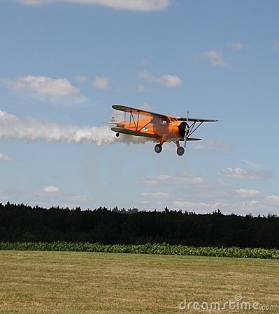 Biplane in the approach Editorial Image