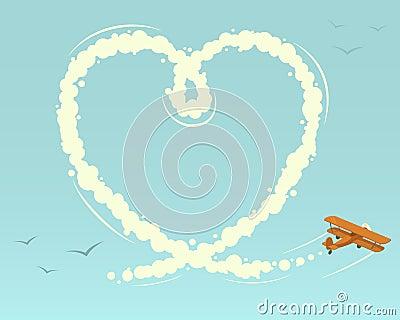 Biplane with heart shape