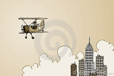 Biplane near skyscrapers