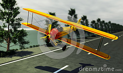 Biplane on the road